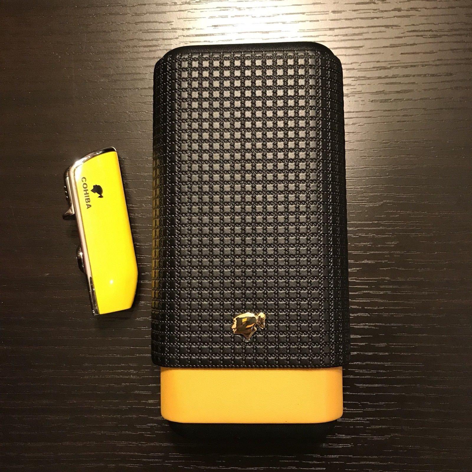 Yellow Black Leather Cedar 3 Ct Cigar Case Holder & Butane Lighter