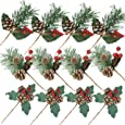 BANBERRY DESIGNS Assorted Christmas Pine Picks - Set of 12 Red Berry Snow Flocked Pinecone Holiday Floral Sprays - Wreaths Garland Crafts Seasonal Vase Fillers