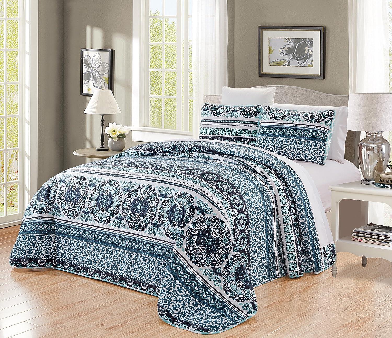 GrandLinen 3-Piece Fine Printed Oversize Quilt Set Reversible Bedspread Coverlet Full Size Bed Cover (Navy, Aqua, Blue, Black Scroll)