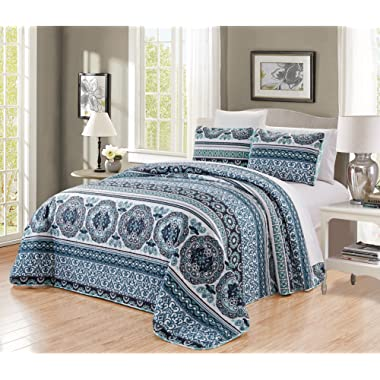 GrandLinen 3-Piece Fine Printed Oversize (115  X 95 ) Quilt Set Reversible Bedspread Coverlet King Size Bed Cover (Navy, Aqua, Blue, Black Scroll)