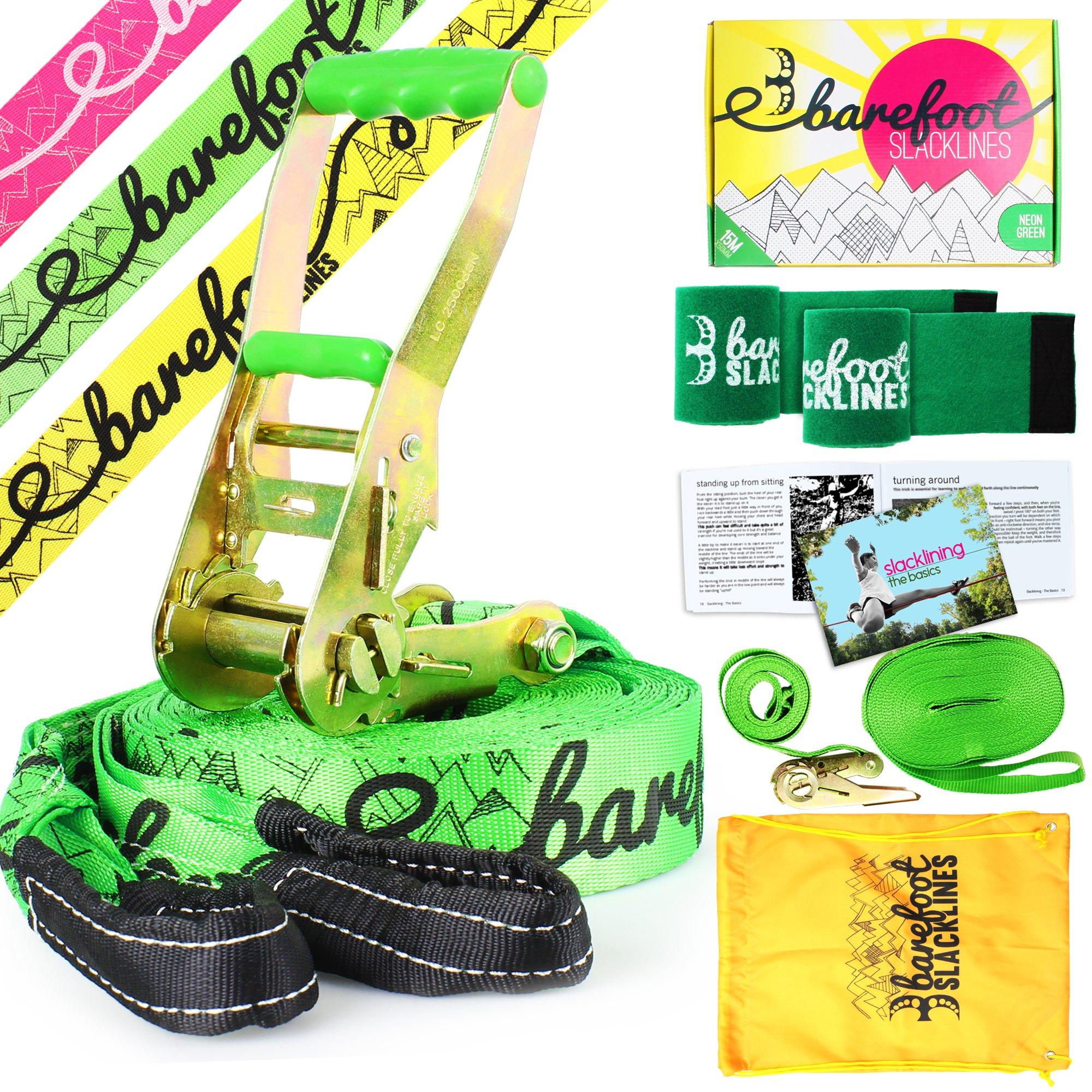 Barefoot Slacklines 49ft (15m) Line! Complete Set Including Slackline, Ratchet, Training Line, Bark Protectors & Instructions! Great for Kids and Family, 3 Fluro Colours Available (Fluro Green) by Barefoot Slacklines