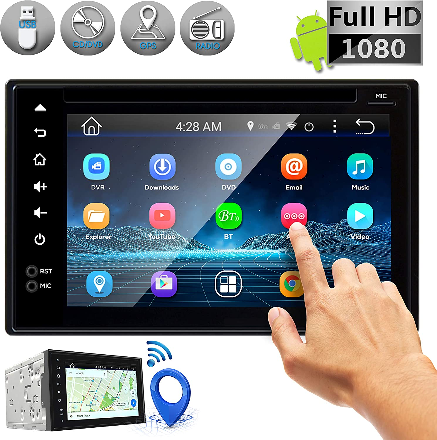 Amazon Com Double Din Android Stereo Receiver Car Head Unit System W Rear View Backup Camera Support 6 Inch Touchscreen Lcd 3g Wifi Bluetooth Cd Dvd Player Gps Navigation Usb Radio