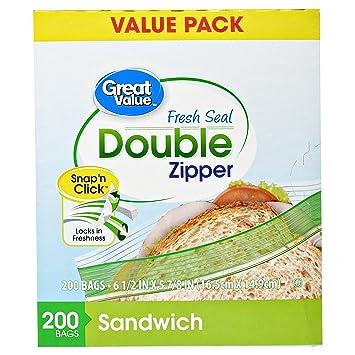 Amazon.com: Gran valor doble cierre bolsas de sándwich, 200 ...