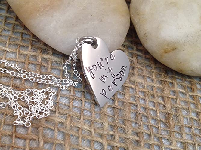 Amazon.com: You\'re My Person Hand Stamped Heart Necklace - Hand ...