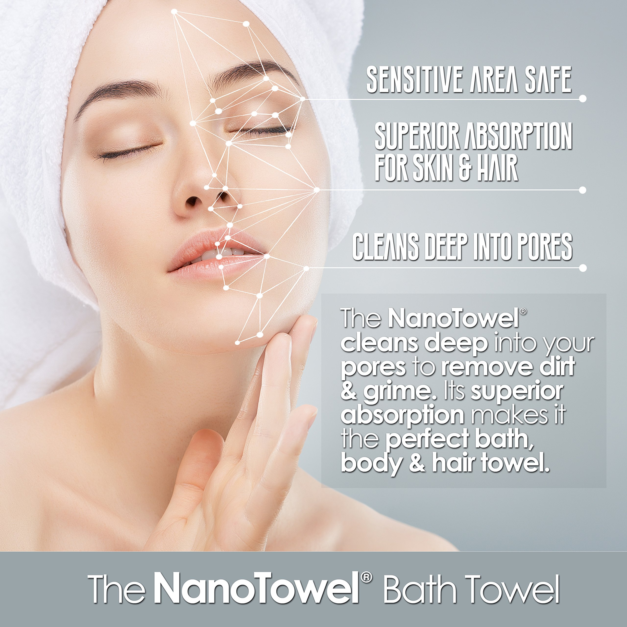 Nano Towels Body Bath & Shower Towel. Huge & Super Absorbent. Wipes Away Dirt, Oil and Cosmetics. Use As Your Sports, Travel, Fitness, Kids, Beauty, Spa Or Salon Luxury Towel. 30 x 55''. by Life Miracle (Image #3)