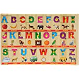 BabyGo Wooden English Capital Alphabet Puzzle Tray with Picture Examples with Knobs (45cm x 30cm) (Multi Color)