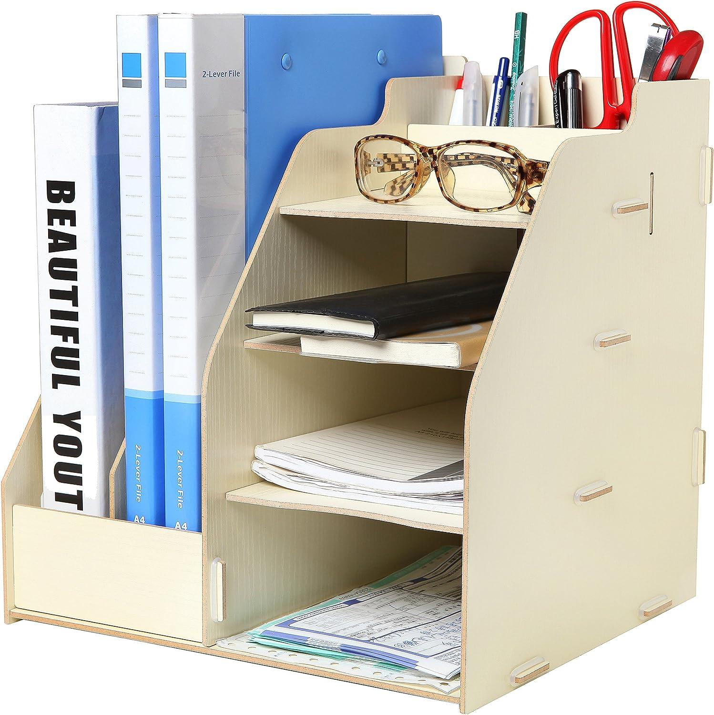 Wood Board Desktop Organizer Rack w/ 32 Document / Magazine Slots