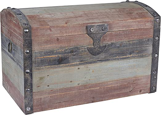 Decorative Rectangular Wooden Lidded Storage Trunk Box For Craft 40x30x14 cm
