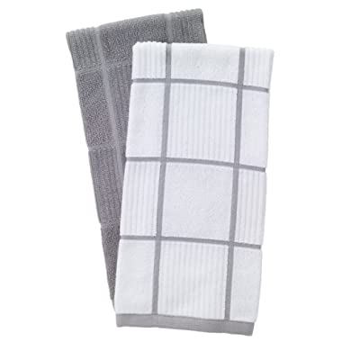 T-Fal Textiles 60954 2-Pack Solid & Check Parquet Design 100-Percent Cotton Kitchen Dish Towel, Gray