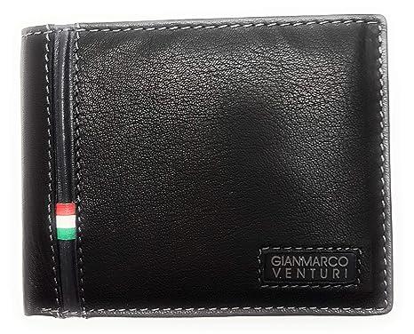 1fefb68fad Portafoglio uomo Gianmarco Venturi Nero con porta monete e porta carta di  credito lunghezza cm 11altezza