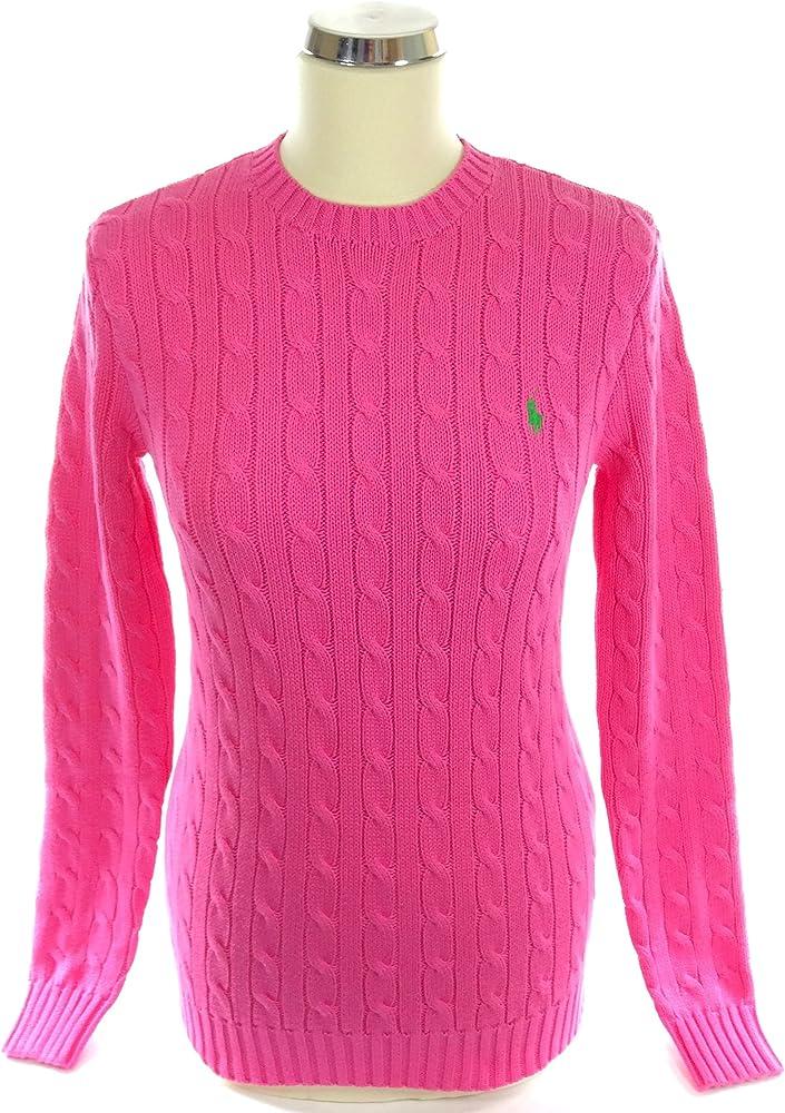 Ralph Lauren Polo de punto para mujer rosa Jersey cuello redondo ...