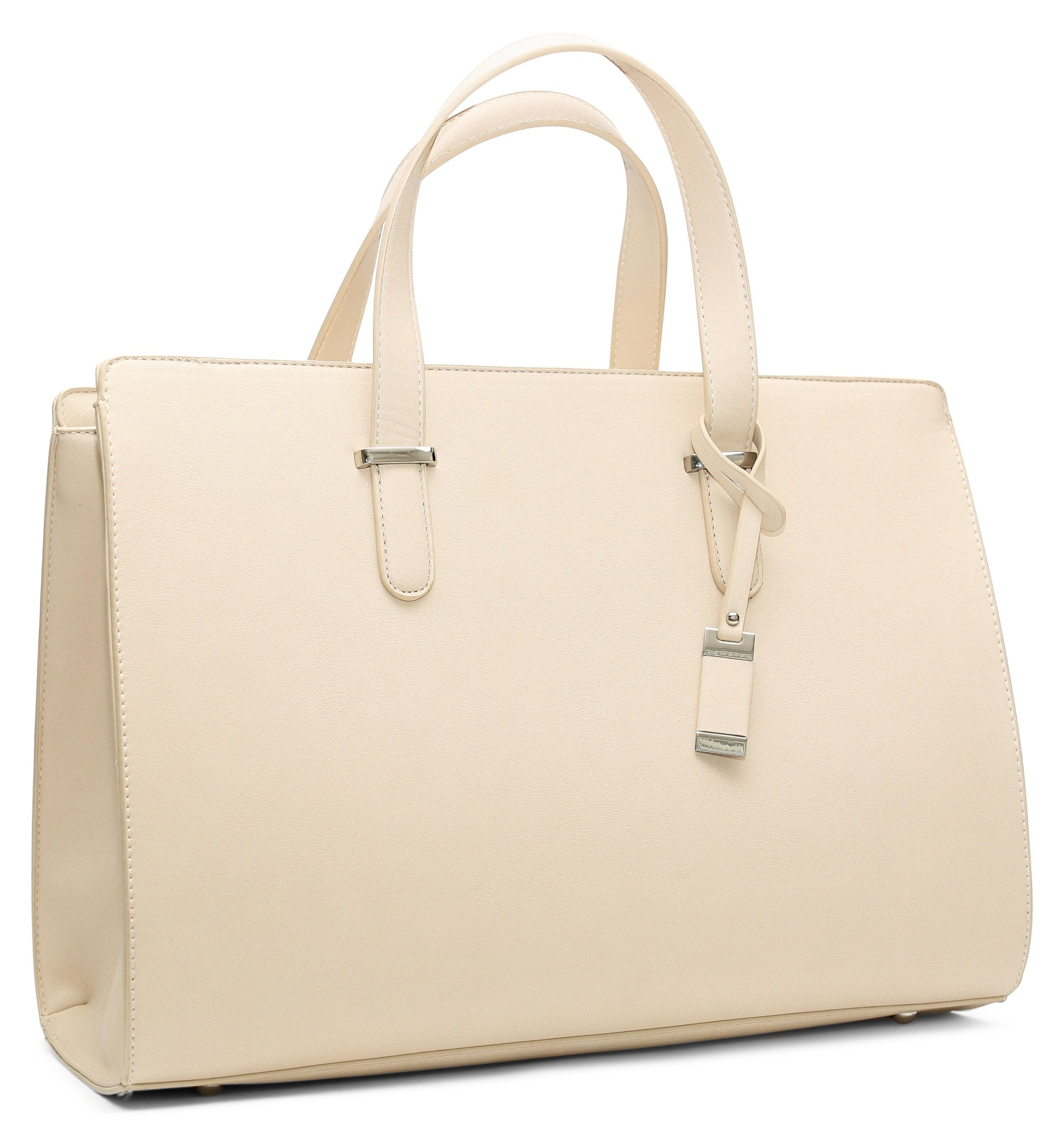 BLON'S Bags Premium Quality Laptop Bag For Women, The Ideal Computer Tote Bag To Keep Your Business Documents, Tablet, Laptop & Notebook Safe, Unique & Practical Laptop Accessorie (Beige) by BLON'S Family