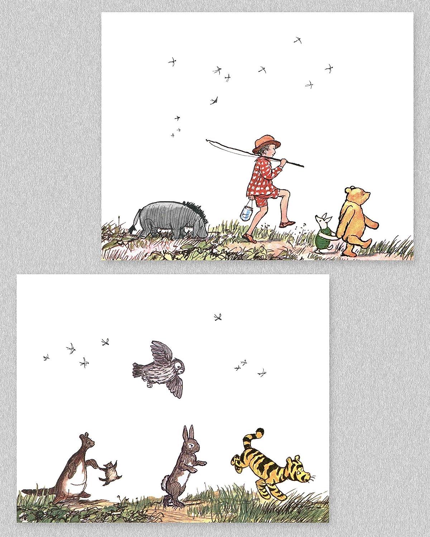 Classic Winnie the Pooh Art Prints, 8x10 (Baby Room Wall Decor, Boys Nursery Girls, Set of 2) Unframed