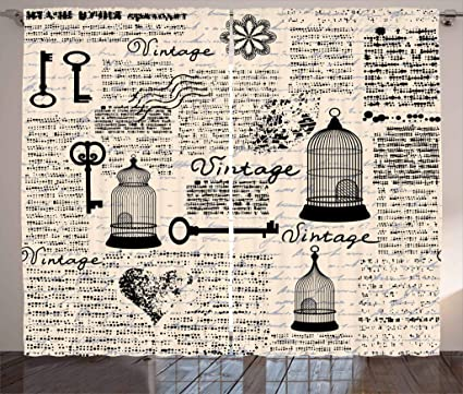 amazon com ambesonne old newspaper decor curtains grunge pattern