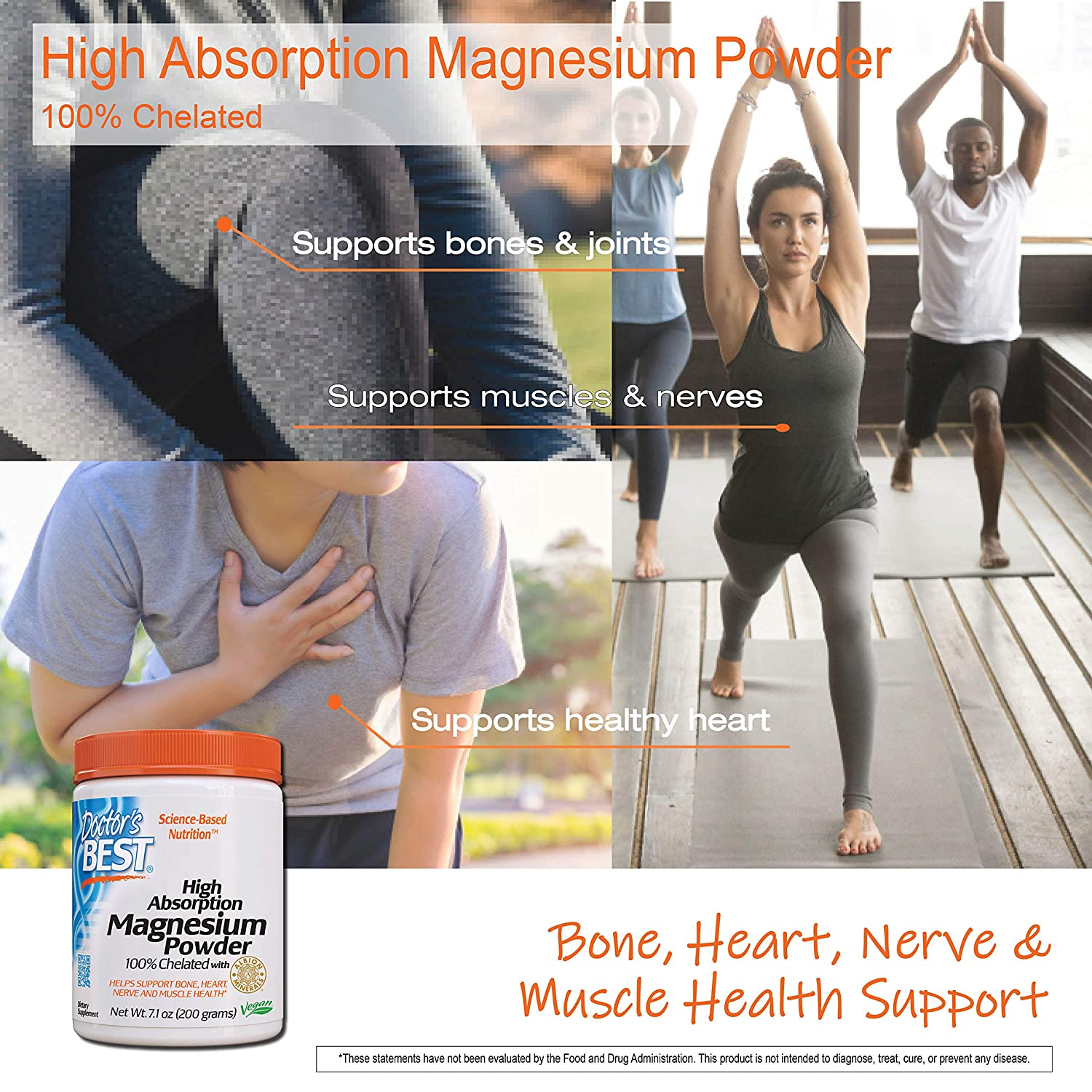Doctor's Best High Absorption Magnesium Powder, 100% Chelated TRACCS, Not  Buffered,