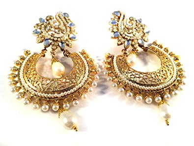 3c5d1a4d5 Kundan Gold Pearl Earrings,Large Jhumkas,Chandbali kundan earrings,ethnic  Wedding Indian Jewellery