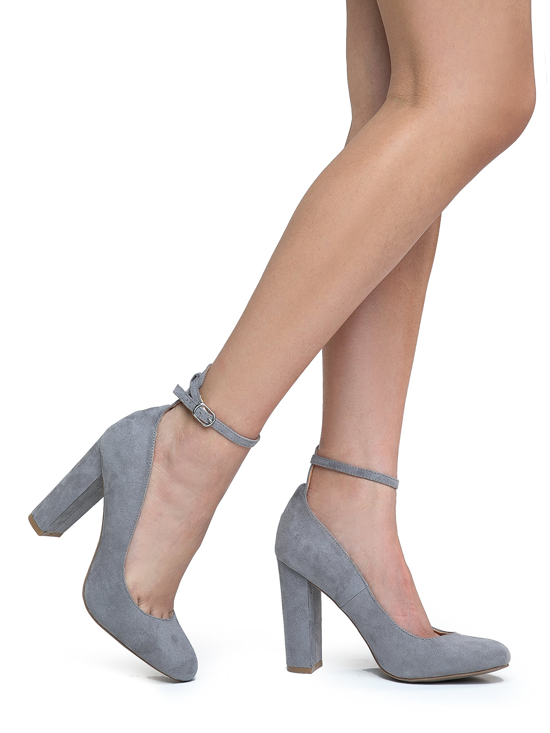 Emery Ankle Strap Block High Heel, Grey Suede, 7.5 B(M) US