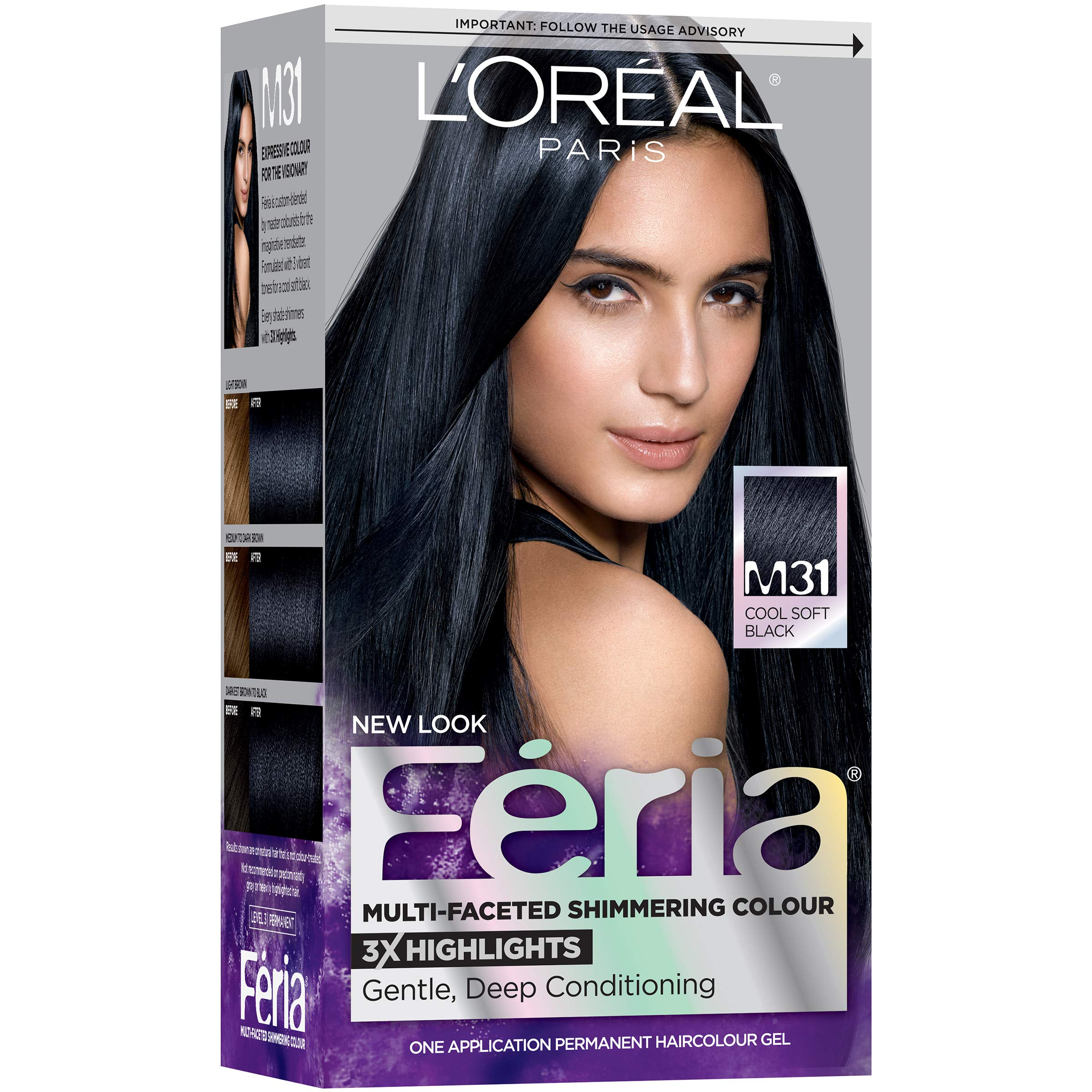 L'Oreal Paris Feria Midnight Collection Multi-Faceted Shimmering Color, Soft Blue Black [M31] 1 ea (Pack of 2) by L'Oreal Paris
