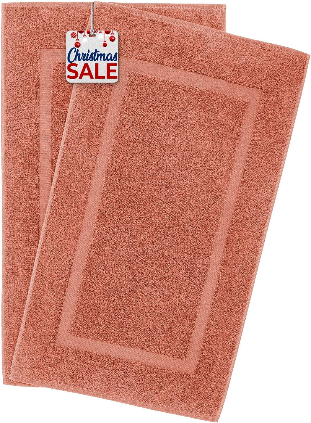 900 GSM Machine Washable 20x34 Inches 2-Pack Banded Bath Mats, Luxury Hotel & Spa Quality, 100% Ring Spun Genuine Cotton, Maximum Softness & Absorbency by United Home Textile, Coral