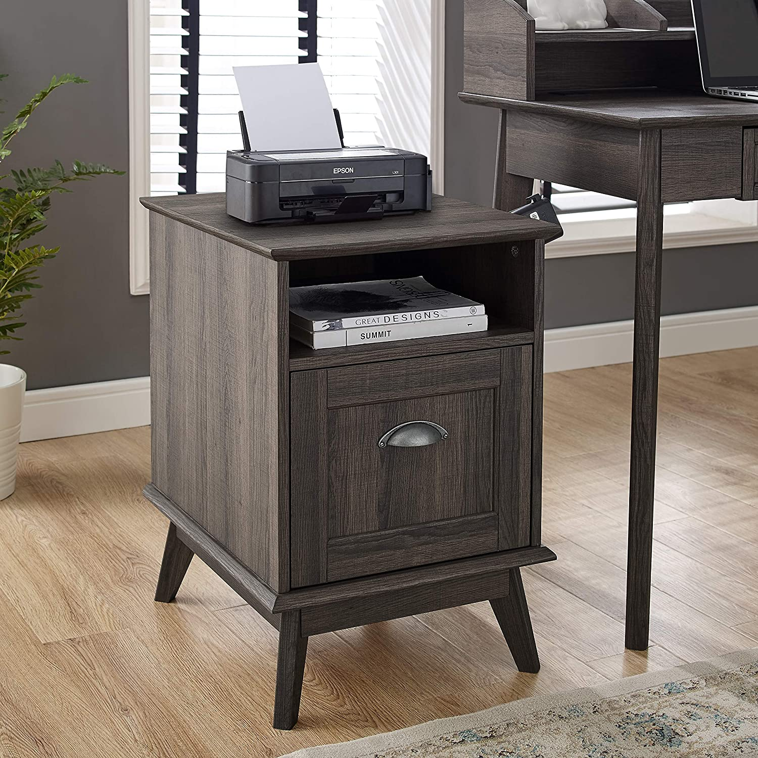 Newport Series Tall Wooden Home Office File Cabinet with Fully Extended Drawer | Side End Table | Sturdy and Stylish | Easy Assembly | Smoke Oak Wood Look Accent Living Room Furniture
