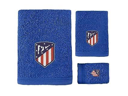 Atlético de Madrid. Juego de 3 Toallas de Baño y Ducha con Licencia Oficial del