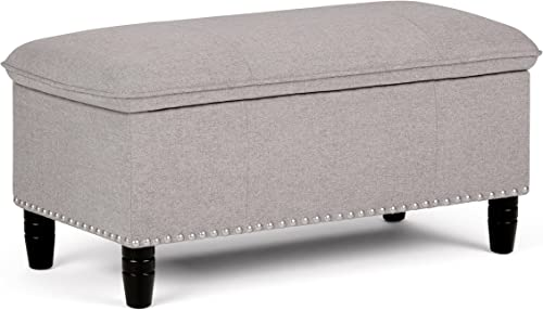 Simpli Home Emily 39 inch Wide Rectangle Lift Top Storage Ottoman