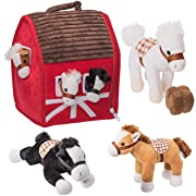 Prextex Plush Farm House with Soft and Cuddly 5  Plush Horses, Farm Boy, and Farm House Barn House Carry Along Case