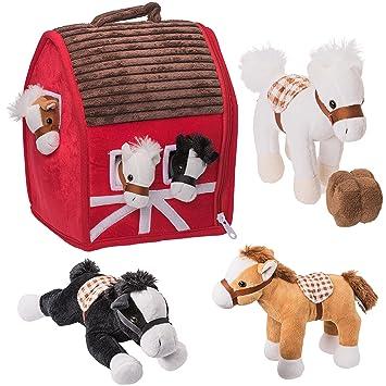 Casa granja de peluche Prextex con caballos de peluche suaves para abrazar de 12,7
