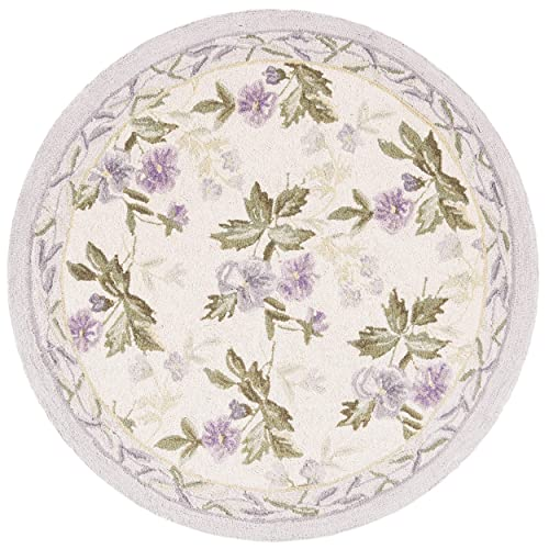 Safavieh Chelsea Collection HK54A Hand-Hooked Ivory Premium Wool Round Area Rug 8 Diameter
