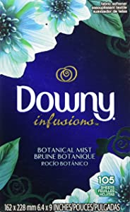 Downy Infusions Botanical Mist Fabric Softener Dryer Sheets, 105 count