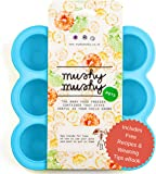 Weaning Pots by Mushy Mushy - Easy To Remove Baby Food Storage Container with Lid to prevent Freezer Burn - BPA Free Silicone Trays - Free Recipe eBook - Give Your Baby The Best Start