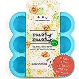 Envases para Alimentos de Bebés Mushy Mushy - 9 Envases Fácilmente Extraíbles - Bandejas para Congelador de Silicona de Larga Duración con Libro Electrónico de Recetas (Ebook) - Recipiente maxi para el destete (Azul)