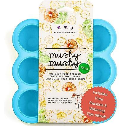 Mushy Mushy - Bandejas Congelador de Silicona para Bebés, Incluye Libro Electrónico de Recetas,