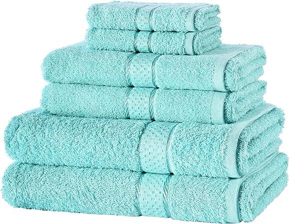 EVELYN LIVING, Juego de Toallas de 6 Piezas, 100% algodón Egipcio para baño, 2 Toallas de Cara, 2 Toallas de Mano y 2 Toallas de baño: Amazon.es: Hogar