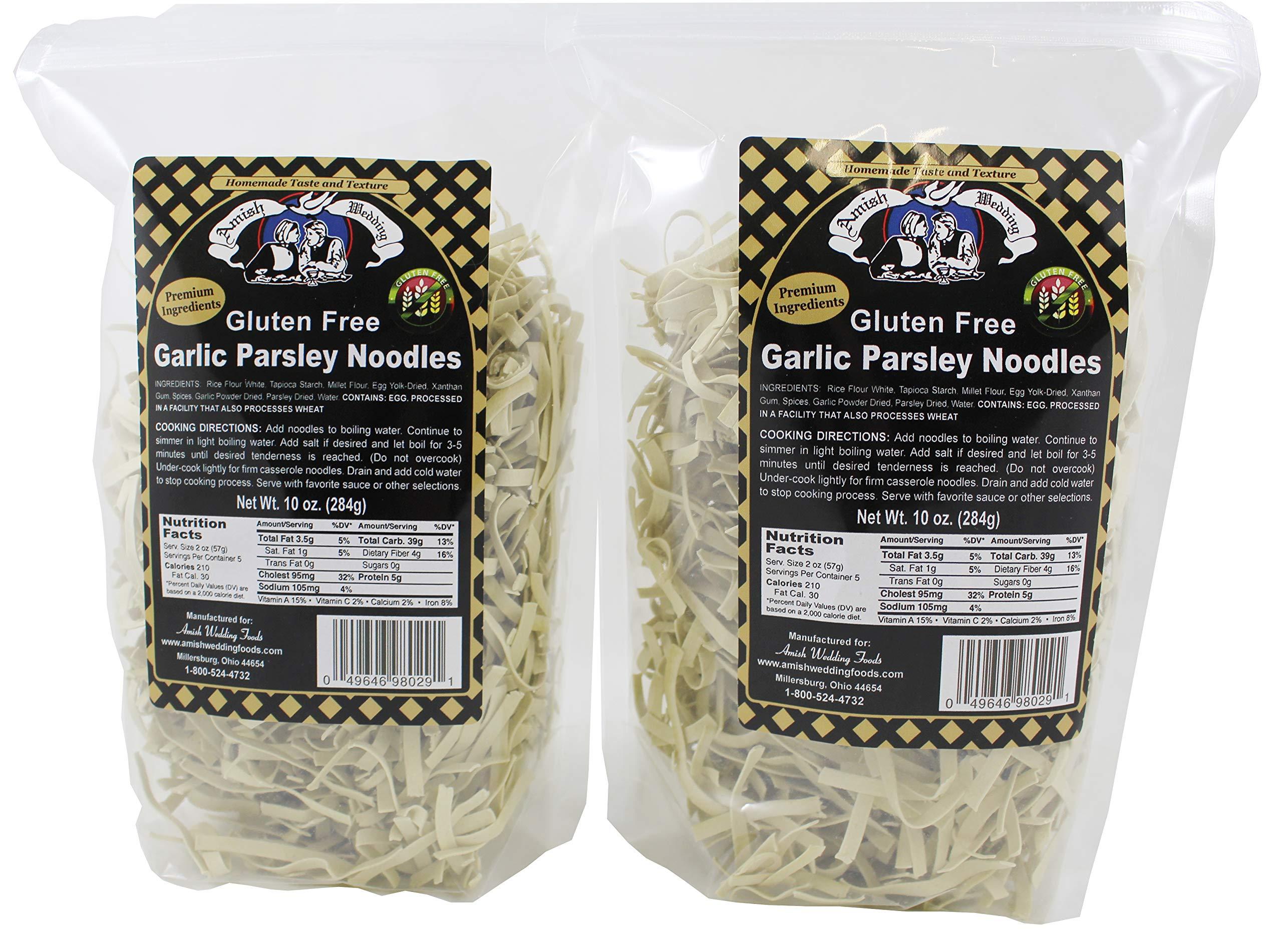 Amish Wedding Gluten Free Garlic Parsley Noodles, Two (2) 10oz Bags by Amish Wedding Foods