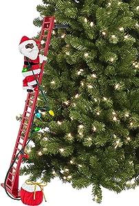 "Mr. Christmas 40"" Super Climbing African American Plush Santa Christmas Décor, Multi Color"