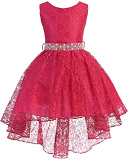 bb38f8c047e iGirldress High Low Lace Dress Rhinestones Belt Pageant Flower Girl Dress  Size 2-20