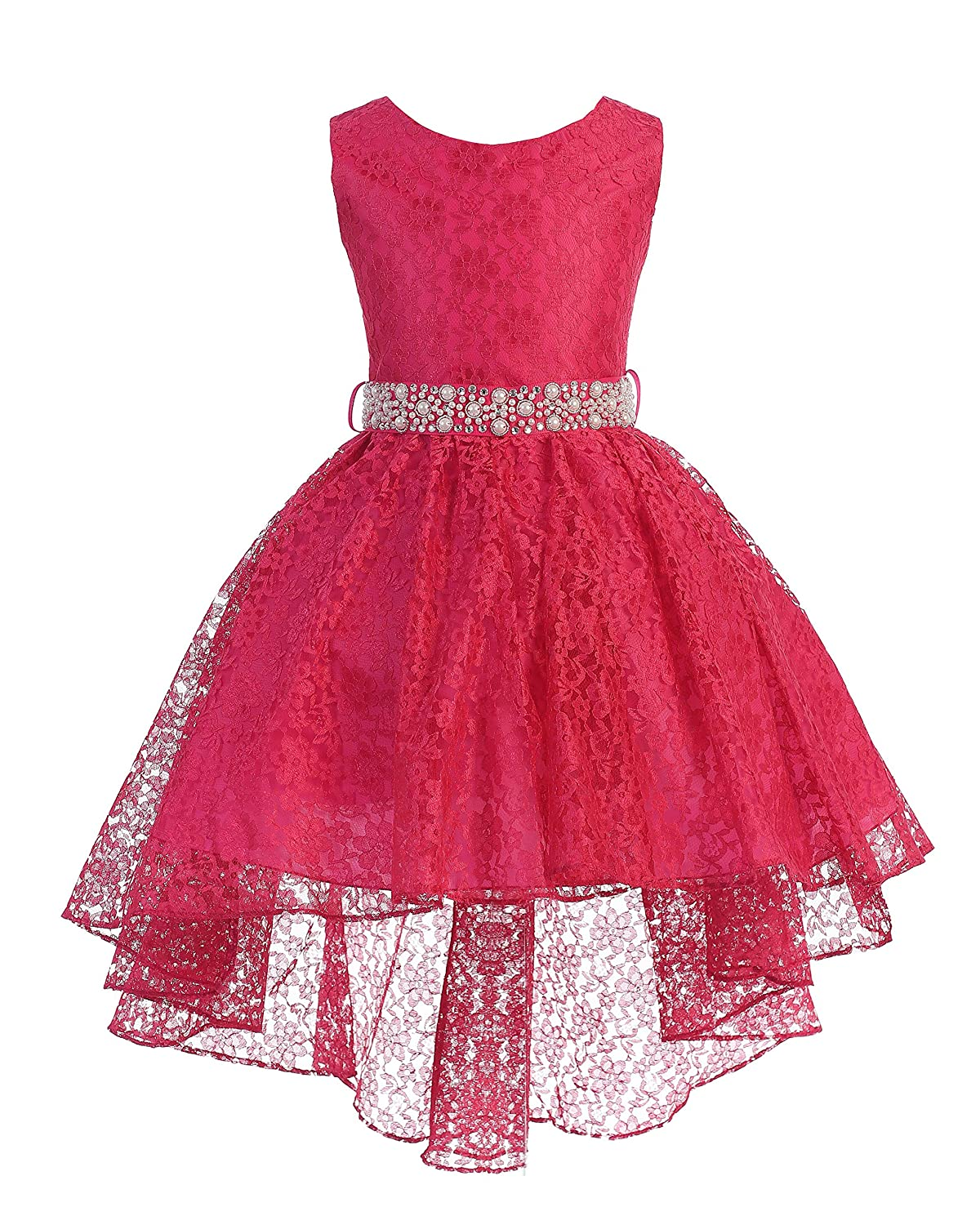 160fc6ec38 Amazon.com: iGirldress High Low Lace Dress with Rhinestones Belt Pageant  Flower Girl Dress Size 2-20: Clothing