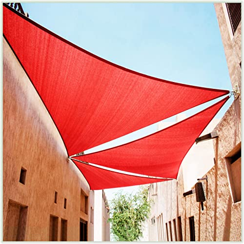 ColourTree CTAPT22 Custom Size Order to Make 16' x 22' x 27.2' Red Right Triangle Sun Shade Sail Canopy Mesh Fabric UV Block
