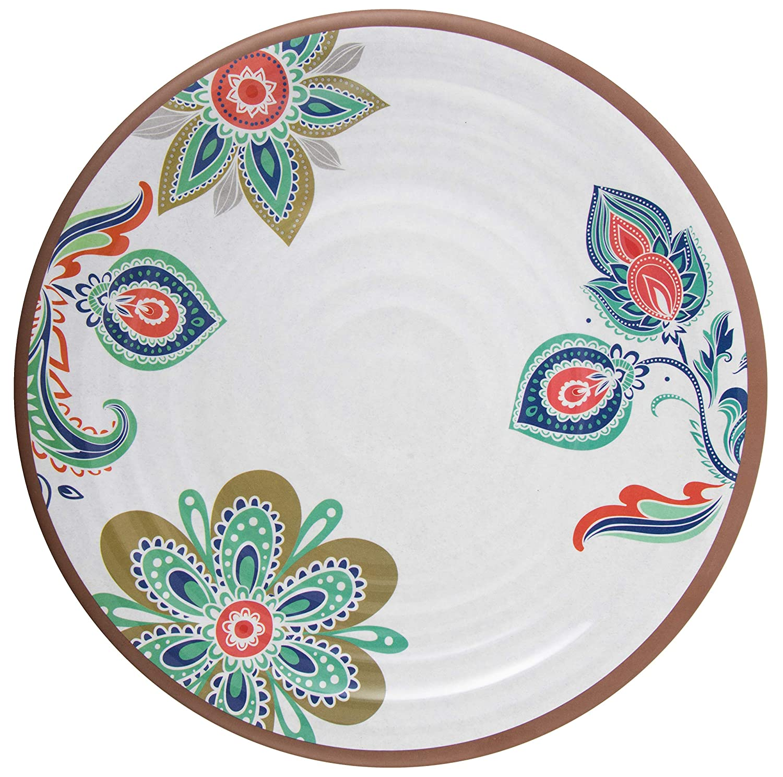 Melange 6-Piece 100/% Melamine Dinner Plate Set Flowers in Clay Shatter-Proof and Chip-Resistant Melamine Dinner Plates 608410089778