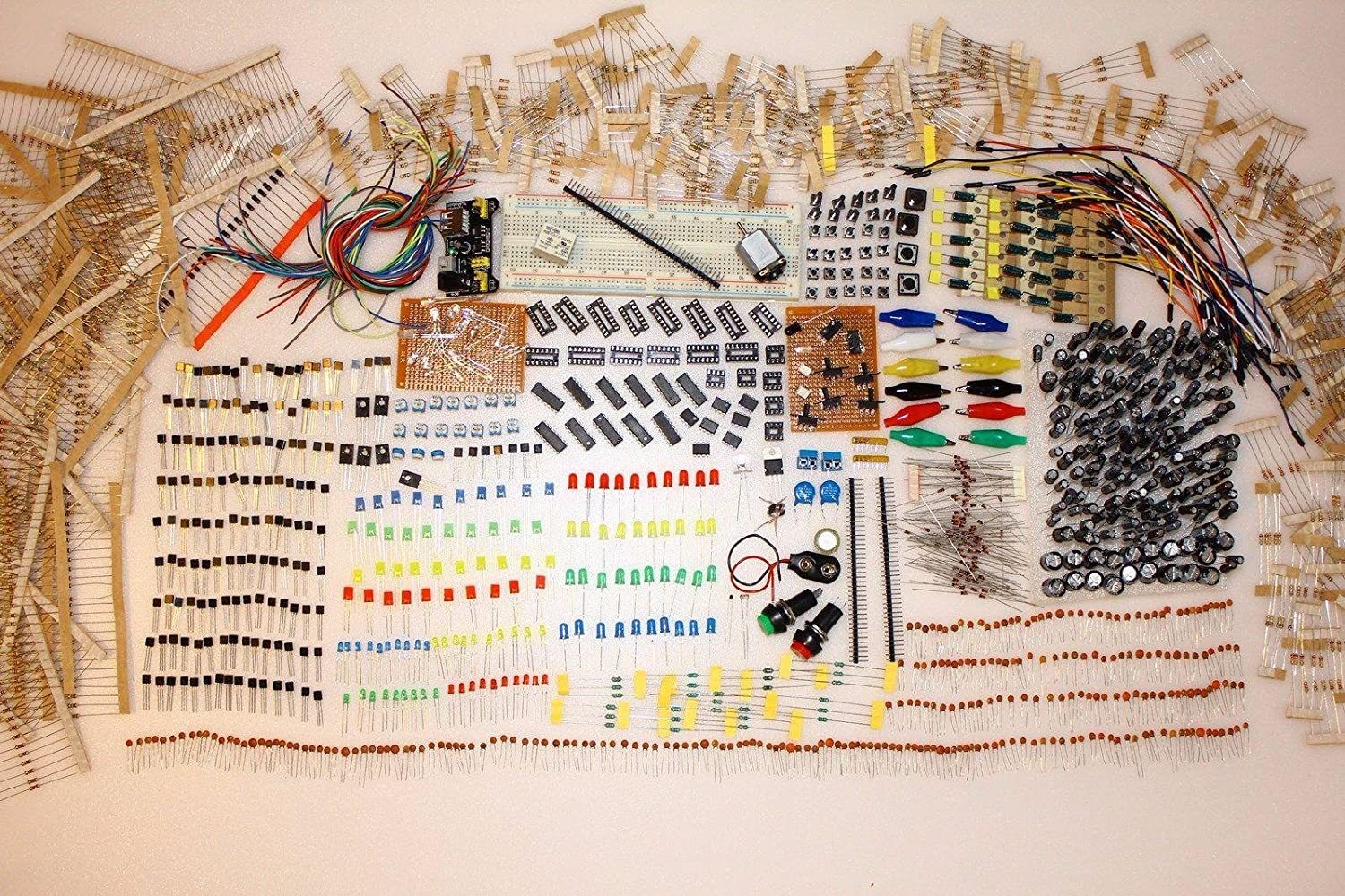 Over 2000 Pcs Of Electronic Components Kit Ideal For Students Circuit Diy Breadboard 830 Point Board 65pcs Jumper Wire Set Yc Arduino And Raspberry Projects Transistors Capacitors Led Diodes Resistors Sensors Learning