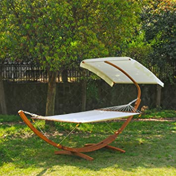 Outsunny Garden Patio Wooden Double Hammock Swing with Half Roof Frame Stand Bed Sunshade Canopy - & Outsunny Garden Patio Wooden Double Hammock Swing with Half Roof ...