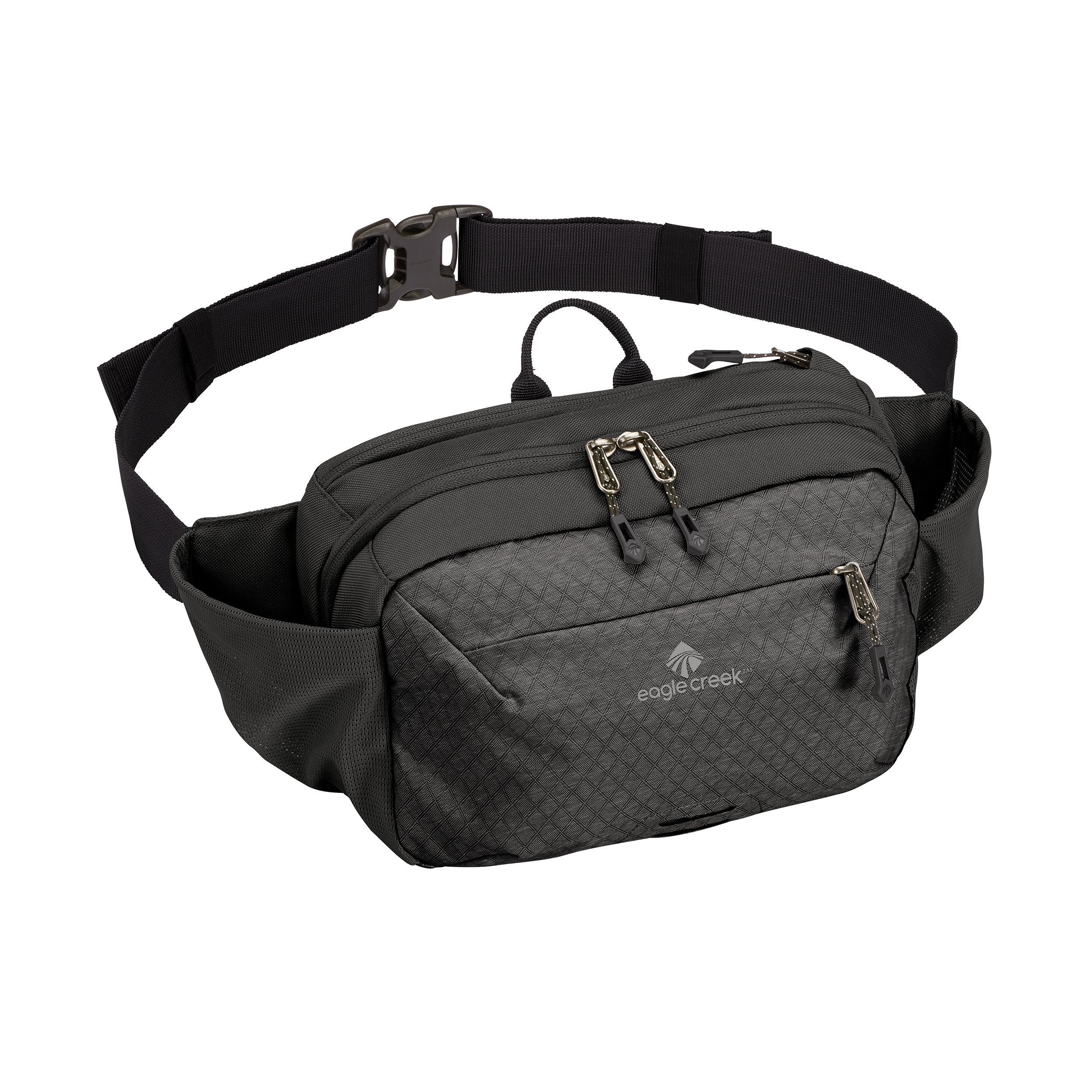 Eagle Creek Wayfinder Waist Pack Multiuse Fanny Pack for Travel Sport Waist Pack for Tablet and Phone Passport Wallet, Black/Charcoal