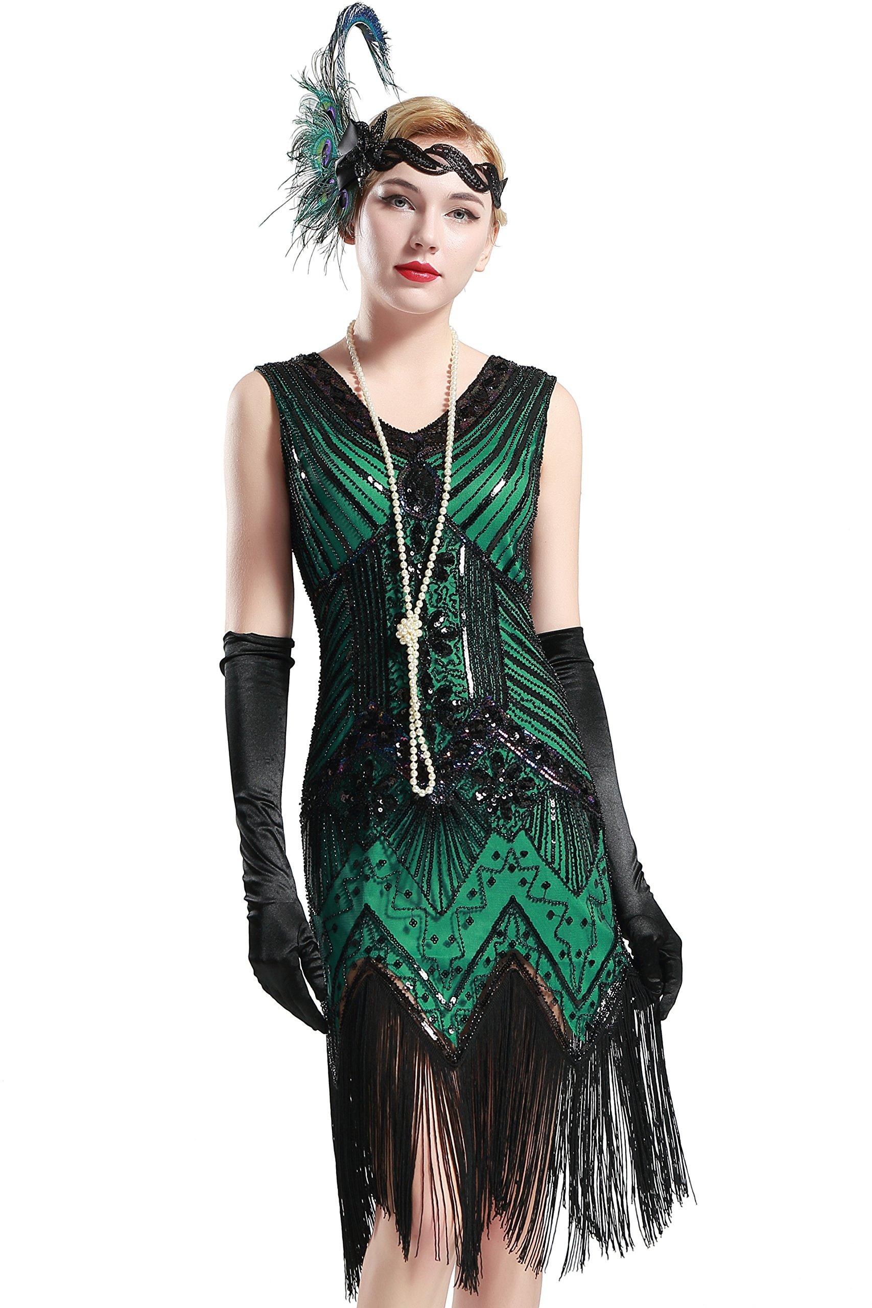 BABEYOND Women's Flapper Dresses 1920s V Neck Beaded Fringed Great Gatsby Dress (Large, Dark Green)