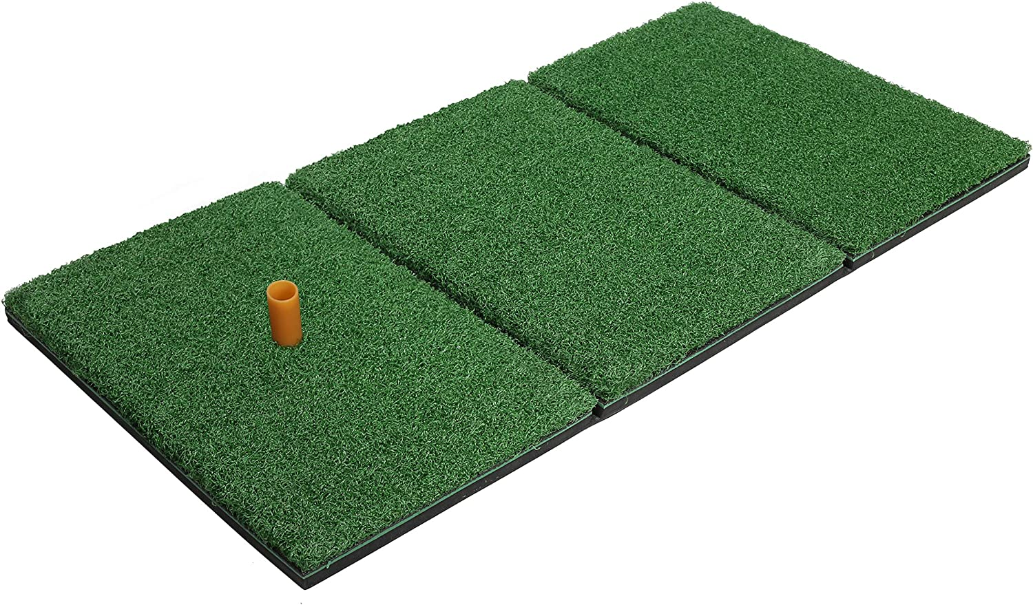 Milliard Golf Turf Grass Mat Foldable Practice Hitting Mat, Indoor and Outdoor Portable for Chipping, Putting Golf Practice and Training with Rubber Tee and Holder - 24x12 inches.