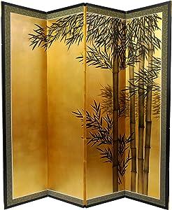 Oriental Furniture 5 1/2 ft. Tall Gold Leaf Bamboo Room Divider