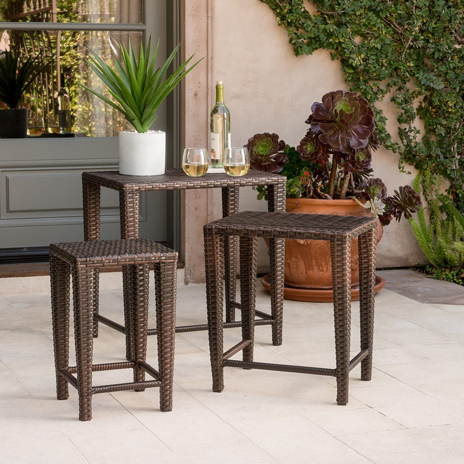 Mayall Patio Furniture 3 Piece Brown Nested Outdoor Wicker Side Table Set