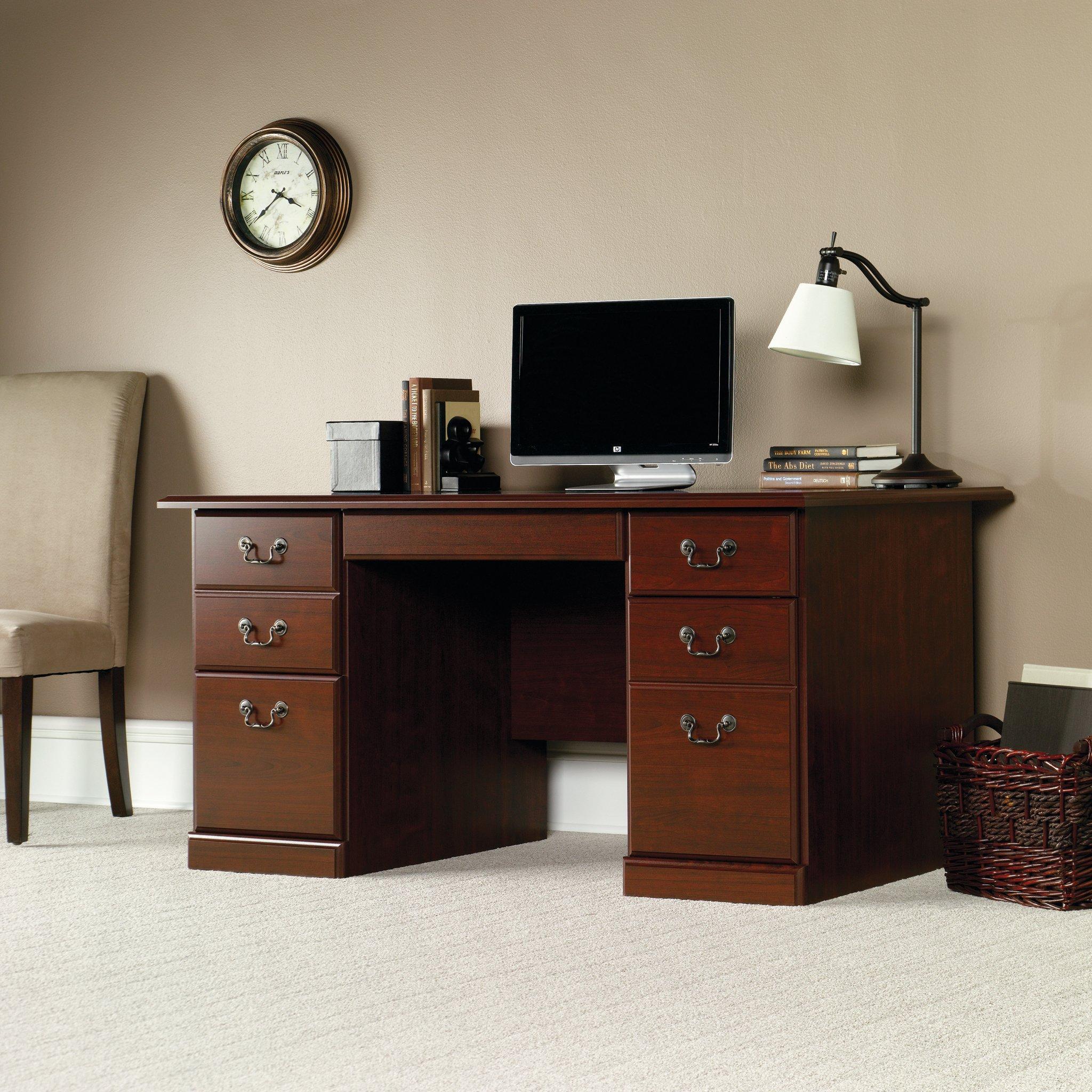 Sauder 109830 Heritage Hill Desk, L: 59.45'' x W: 29.53'' x H: 29.25'', Classic Cherry finish