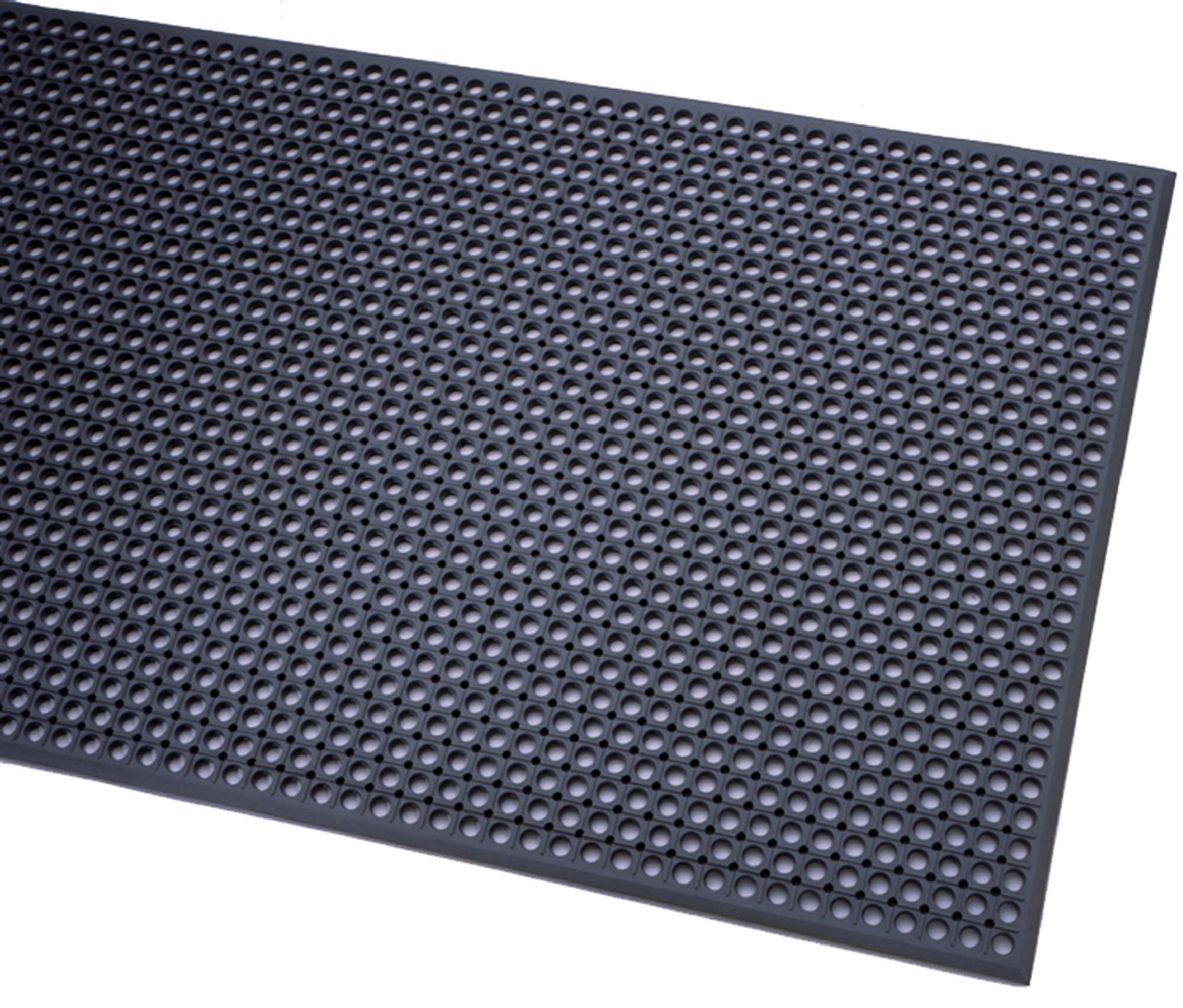 Durable Workstation Plus Rubber Anti-Fatigue Drainage Mat, For Wet Areas, 3' x 10', Black
