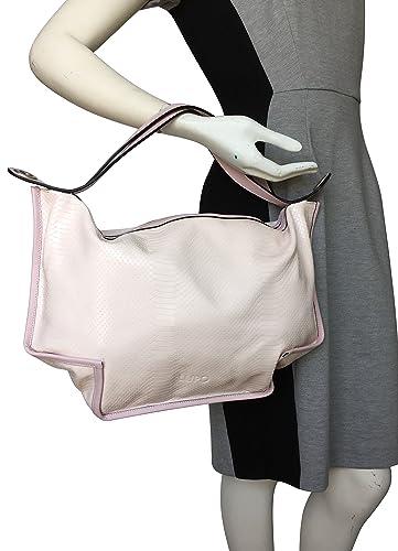 LUPO Barcelona Ladies Bag Snakeskin Print on Light Pink Genuine Calfskin Patent Leather Square Handbag: Handbags: Amazon.com